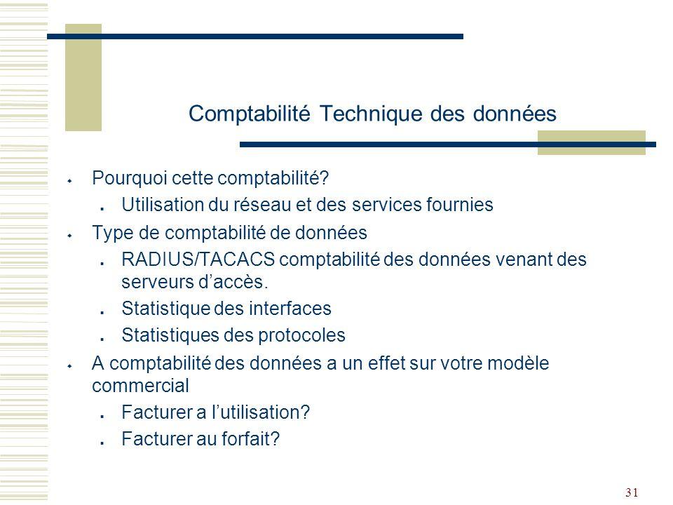 Comptabilité Technique des données