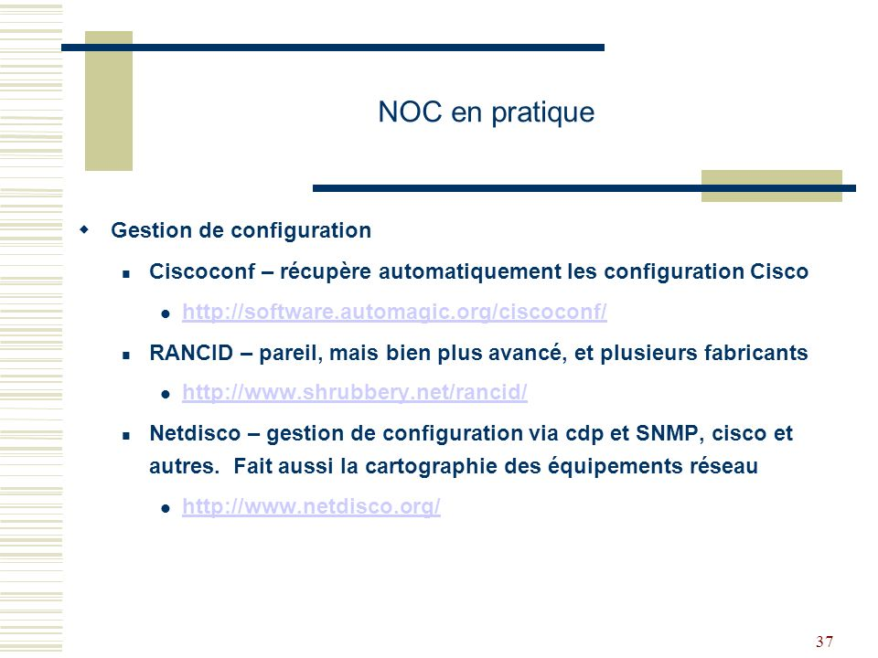 NOC en pratique Gestion de configuration