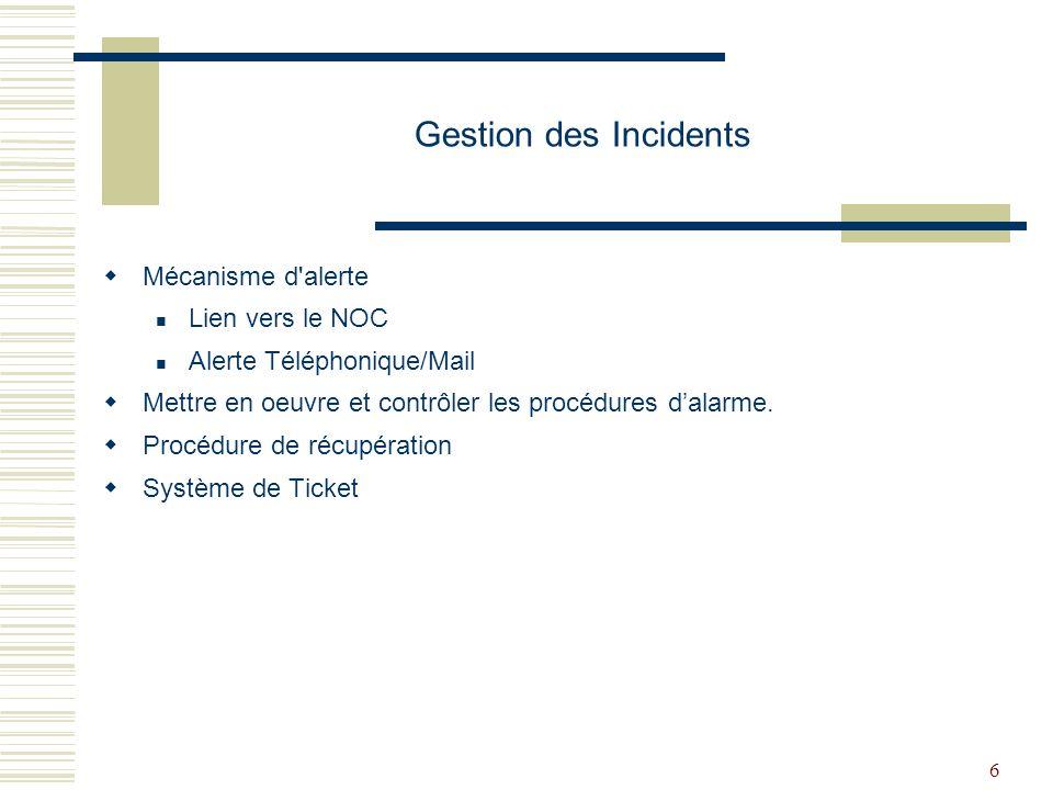 Gestion des Incidents Mécanisme d alerte Lien vers le NOC