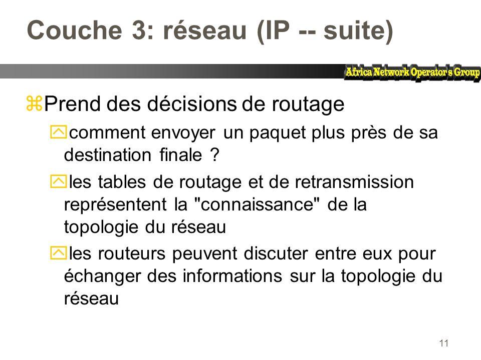 Couche 3: réseau (IP -- suite)