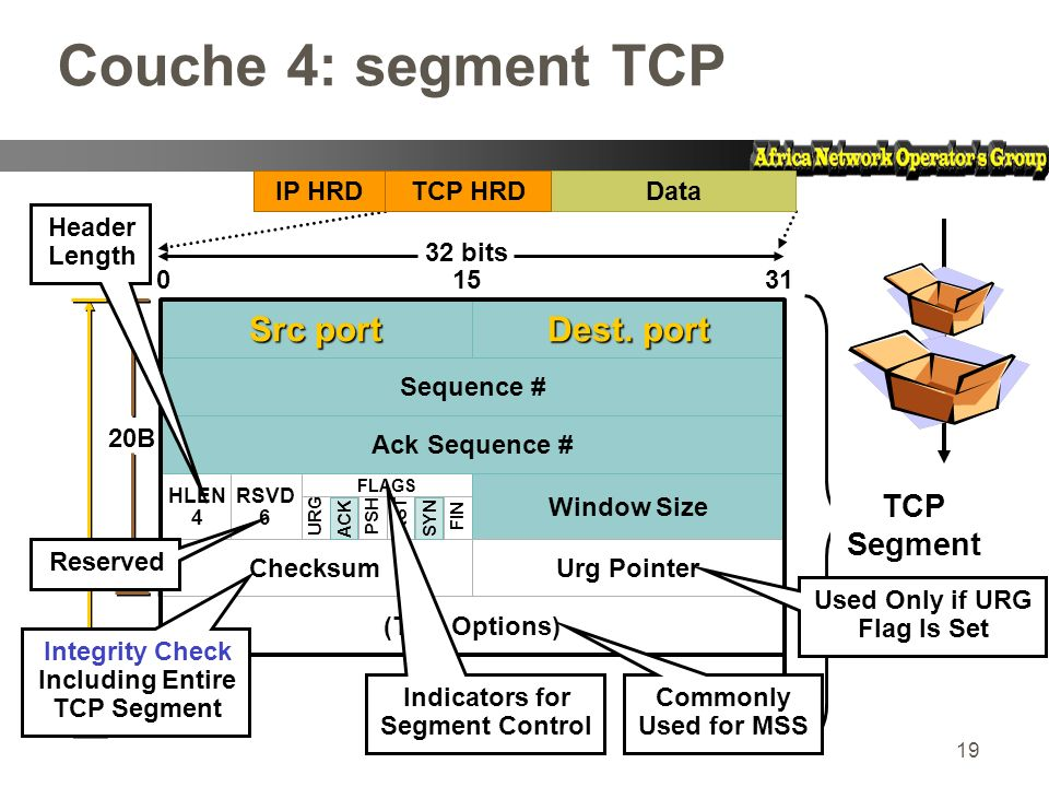 Couche 4: segment TCP Src port Dest. port TCP Segment IP HRD Data