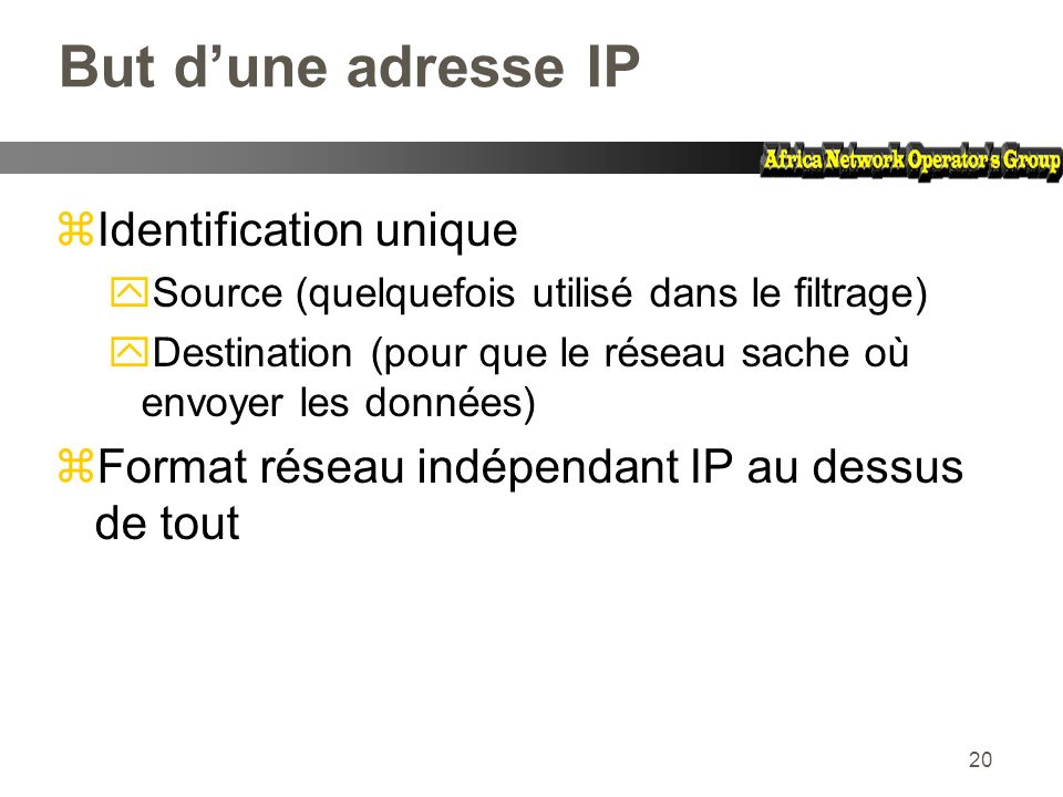 But d'une adresse IP Identification unique