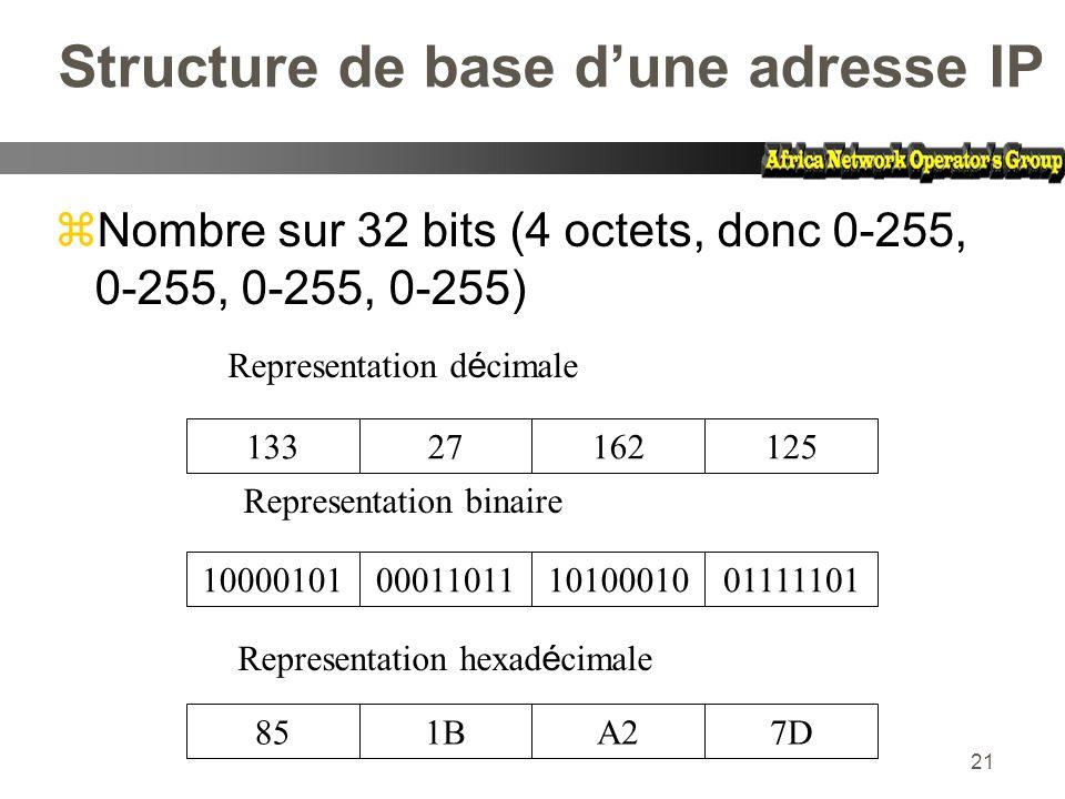 Structure de base d'une adresse IP