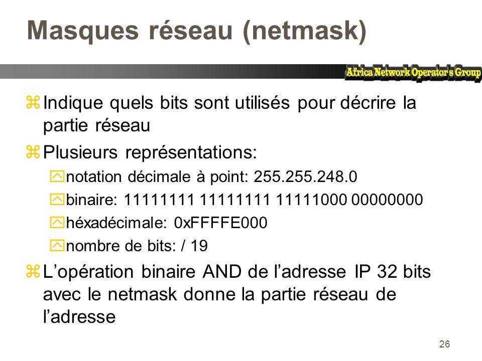 Masques réseau (netmask)