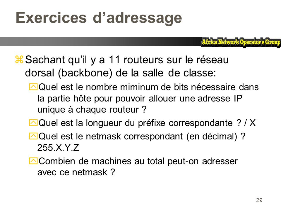Exercices d'adressage