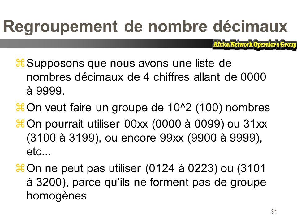 Regroupement de nombre décimaux