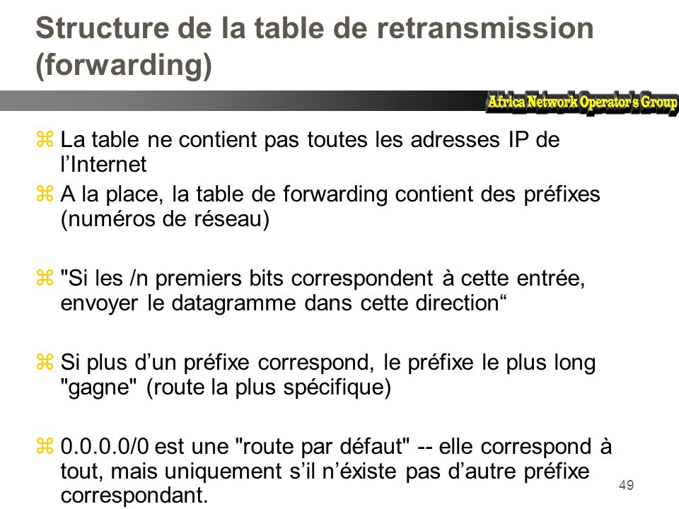 Structure de la table de retransmission (forwarding)