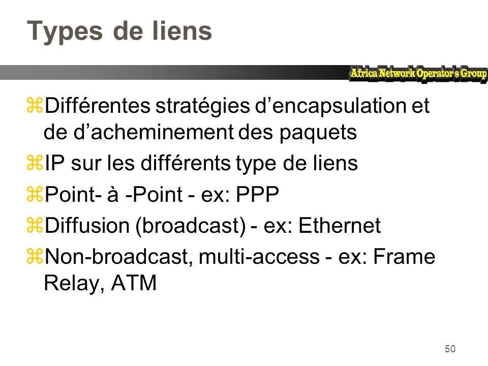 Types de liens Différentes stratégies d'encapsulation et de d'acheminement des paquets. IP sur les différents type de liens.