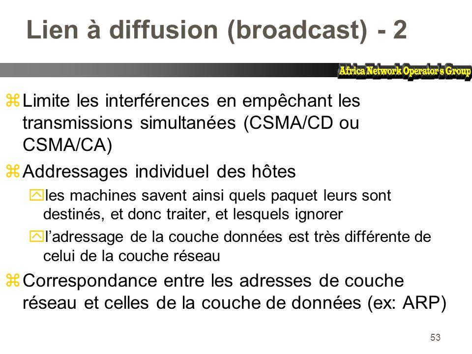 Lien à diffusion (broadcast) - 2