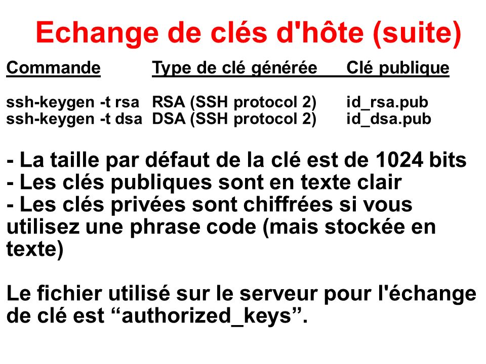 Echange de clés d hôte (suite)