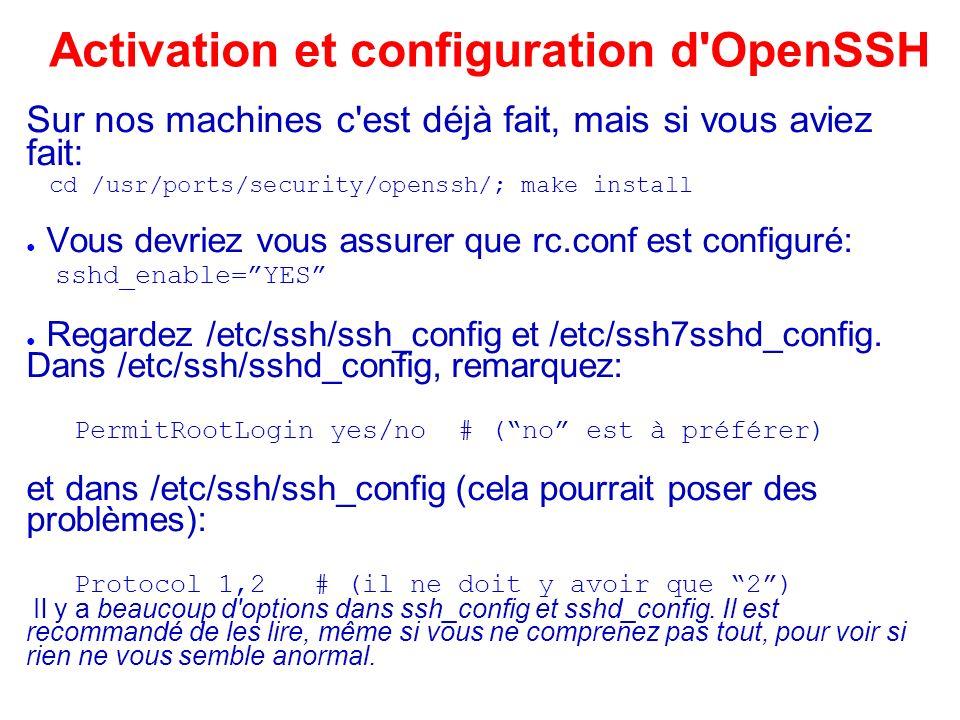 Activation et configuration d OpenSSH