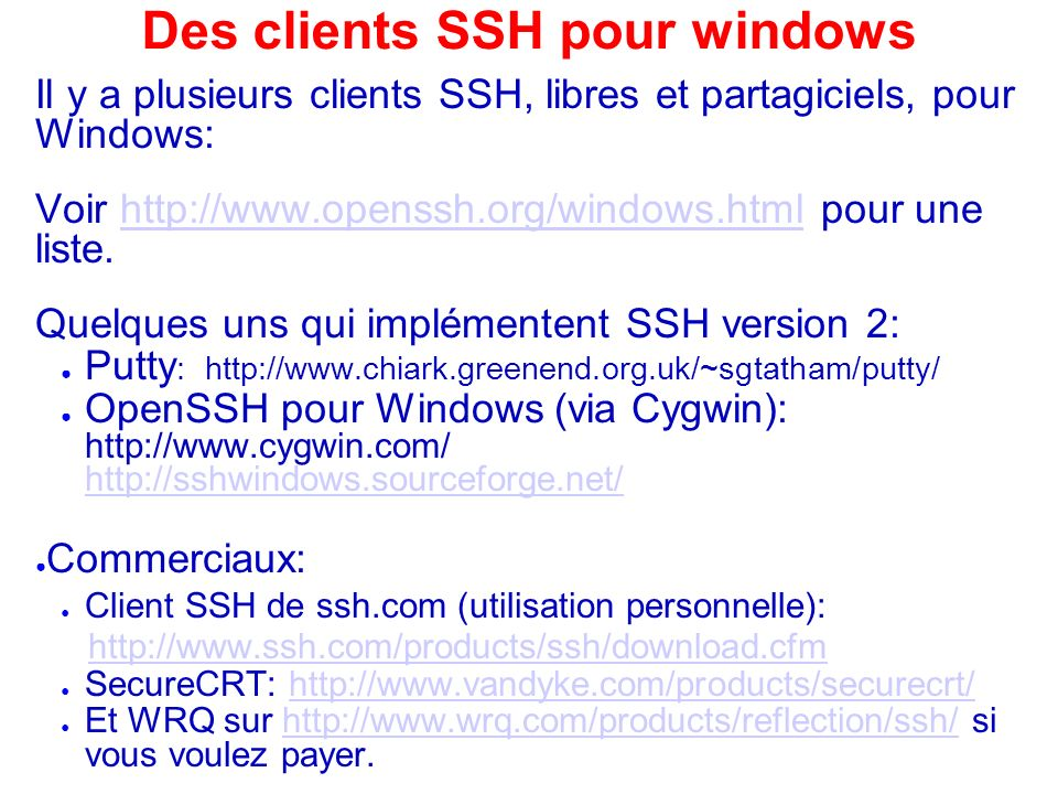 Des clients SSH pour windows