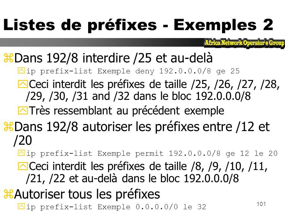 Listes de préfixes - Exemples 2