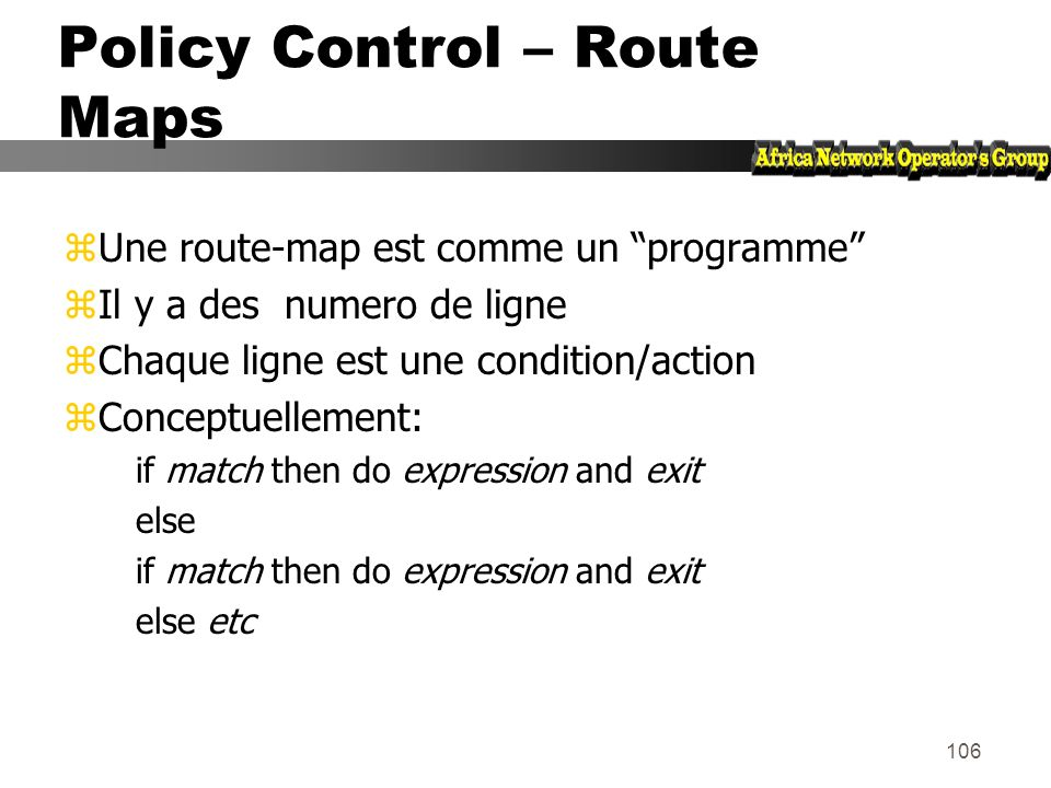 Policy Control – Route Maps
