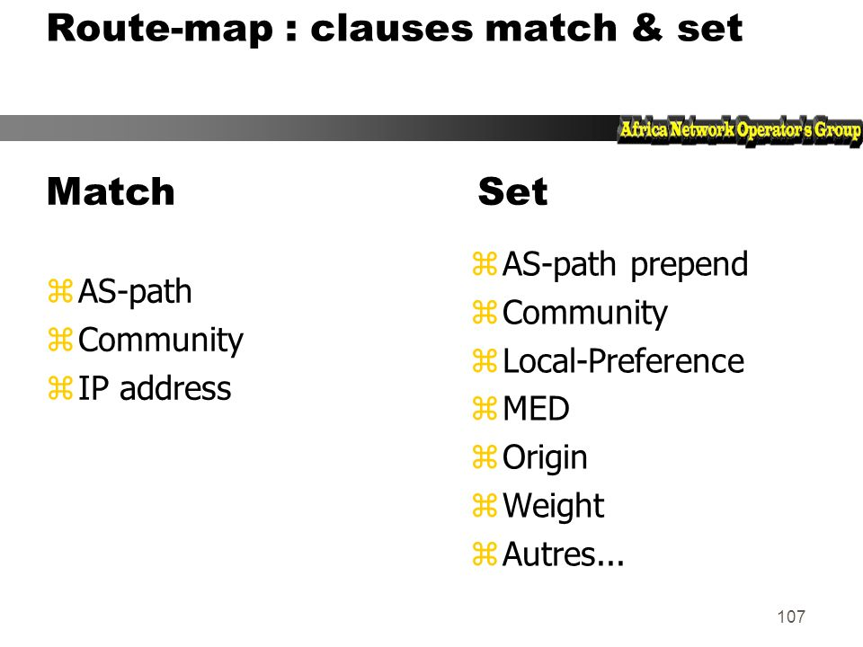 Route-map : clauses match & set