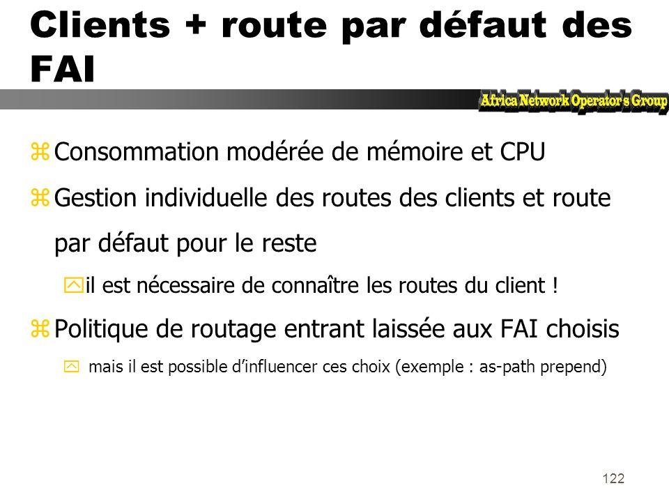 Clients + route par défaut des FAI