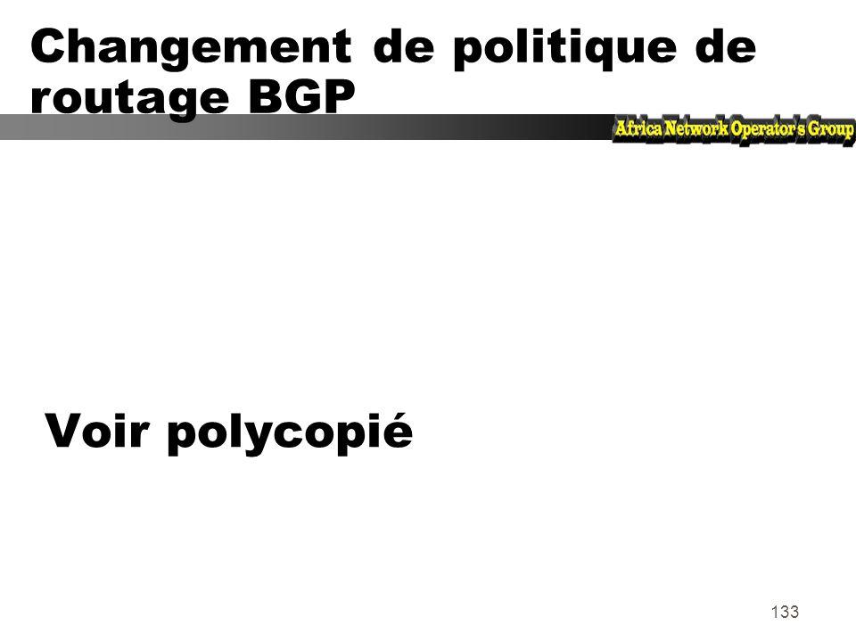 Changement de politique de routage BGP