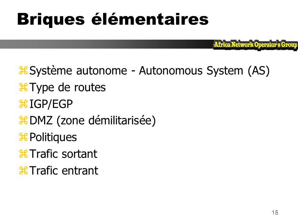 Briques élémentaires Système autonome - Autonomous System (AS)