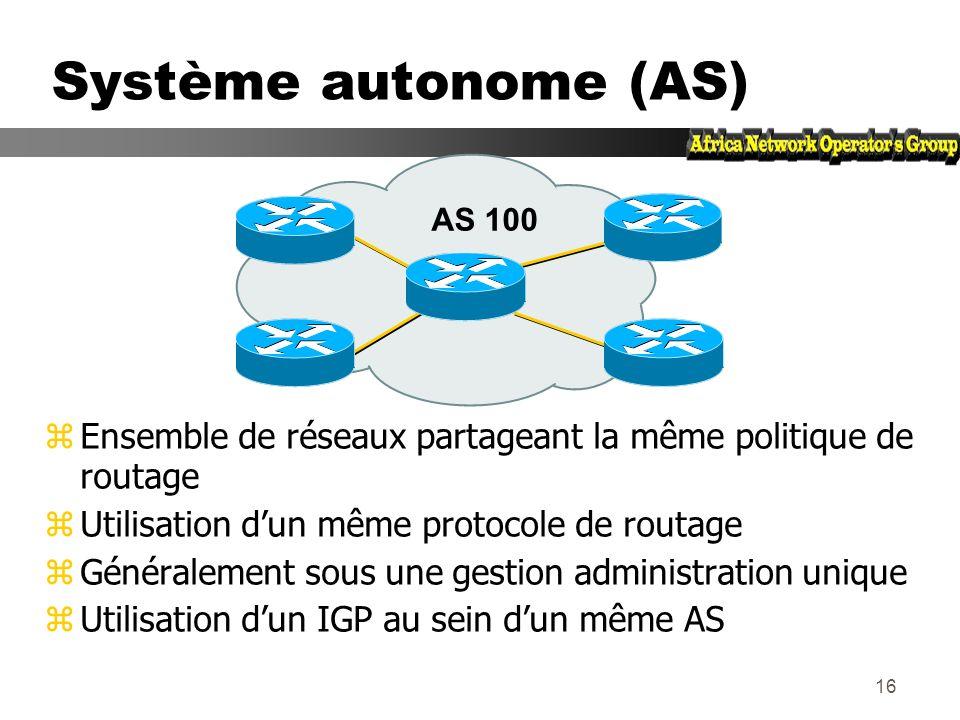 Système autonome (AS) AS 100. Ensemble de réseaux partageant la même politique de routage. Utilisation d'un même protocole de routage.