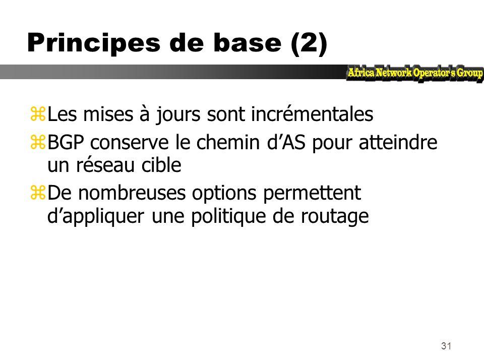 Principes de base (2) Les mises à jours sont incrémentales