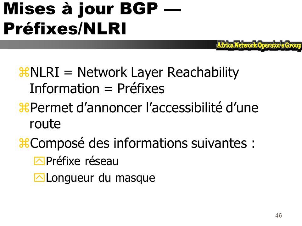 Mises à jour BGP — Préfixes/NLRI