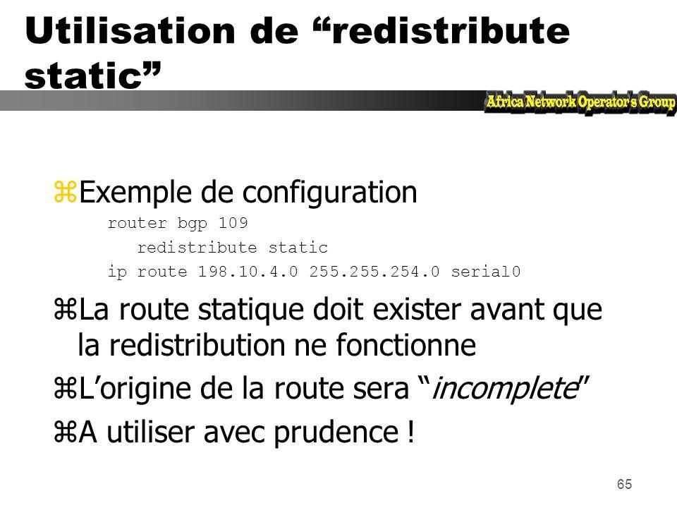 Utilisation de redistribute static