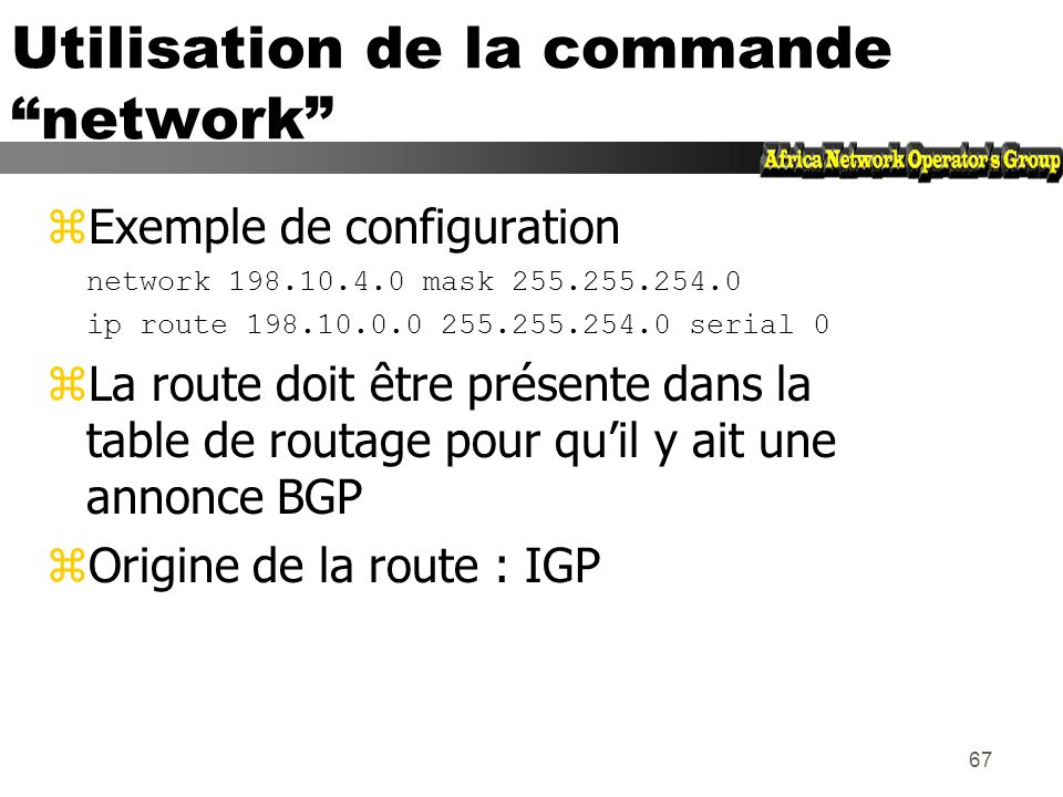 Utilisation de la commande network