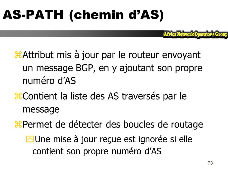 AS-PATH (chemin d'AS) Attribut mis à jour par le routeur envoyant un message BGP, en y ajoutant son propre numéro d'AS.