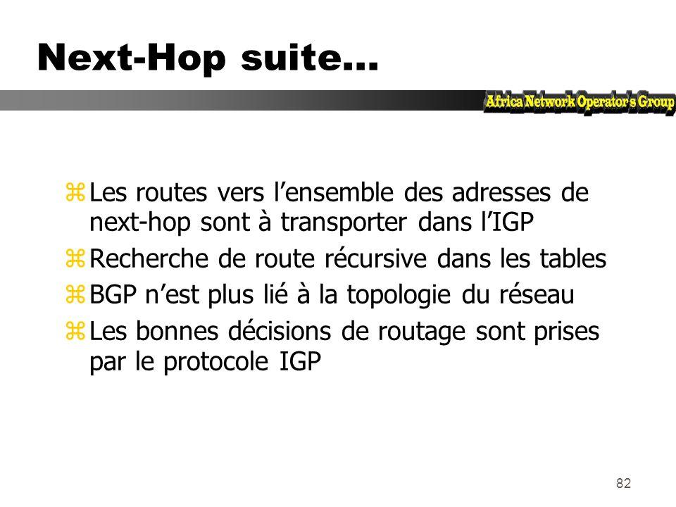 Next-Hop suite... Les routes vers l'ensemble des adresses de next-hop sont à transporter dans l'IGP.