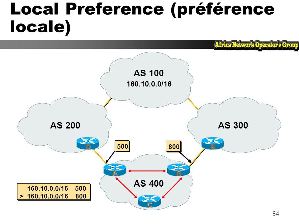 Local Preference (préférence locale)