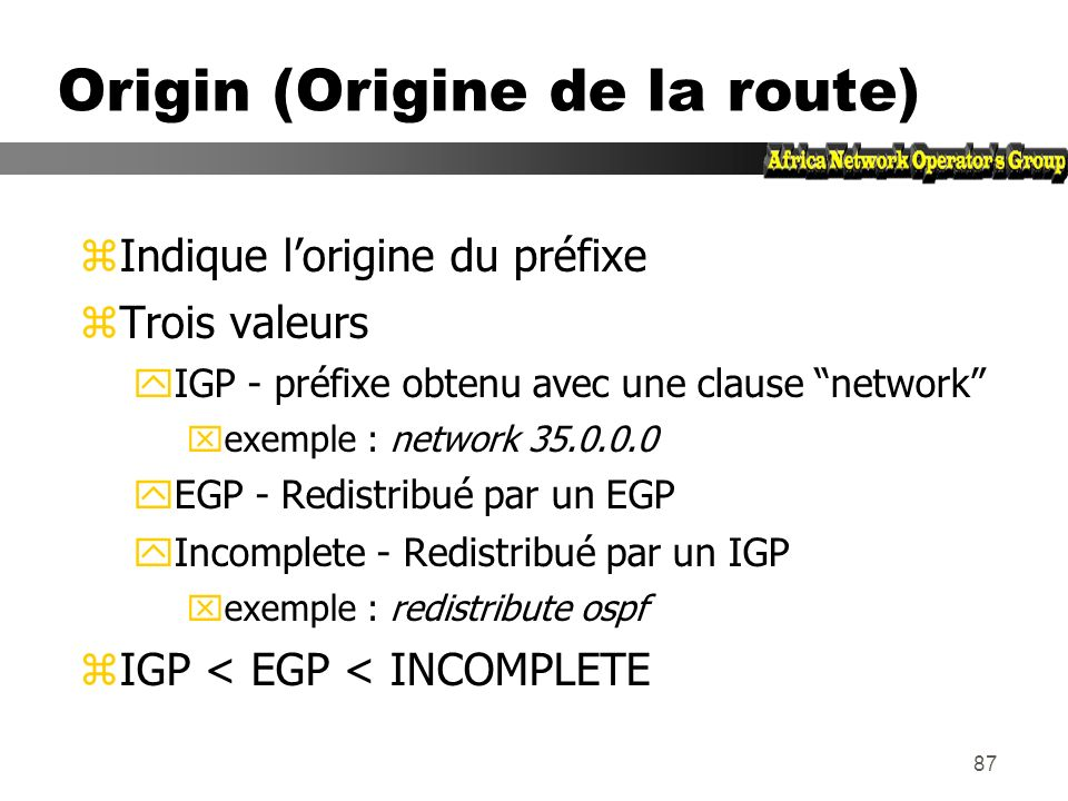 Origin (Origine de la route)