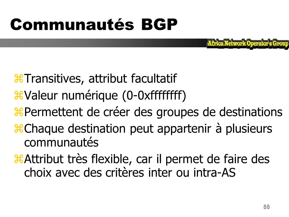 Communautés BGP Transitives, attribut facultatif