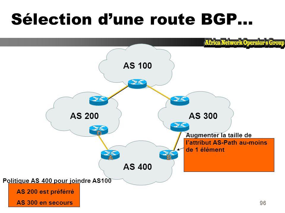 Sélection d'une route BGP...