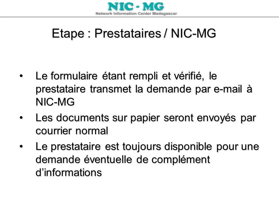 Etape : Prestataires / NIC-MG