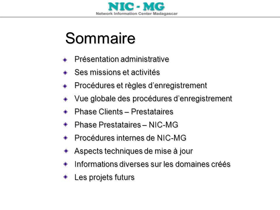 Sommaire Présentation administrative Ses missions et activités