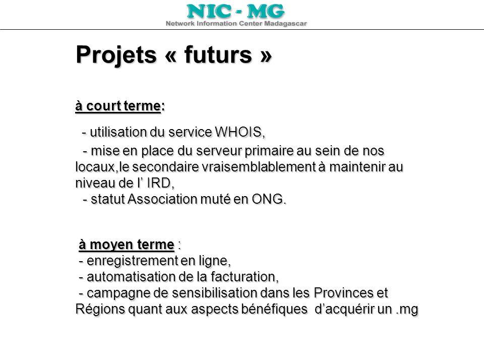 Projets « futurs » à court terme: - utilisation du service WHOIS, - mise en place du serveur primaire au sein de nos locaux,le secondaire vraisemblablement à maintenir au niveau de l' IRD, - statut Association muté en ONG.