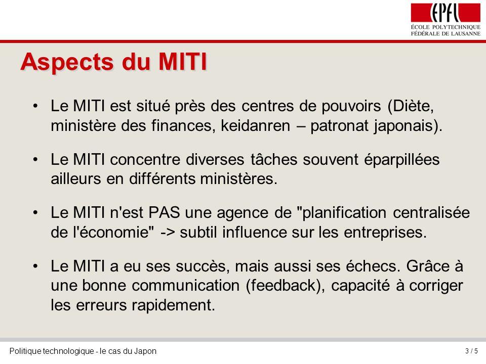 Aspects du MITI Le MITI est situé près des centres de pouvoirs (Diète, ministère des finances, keidanren – patronat japonais).