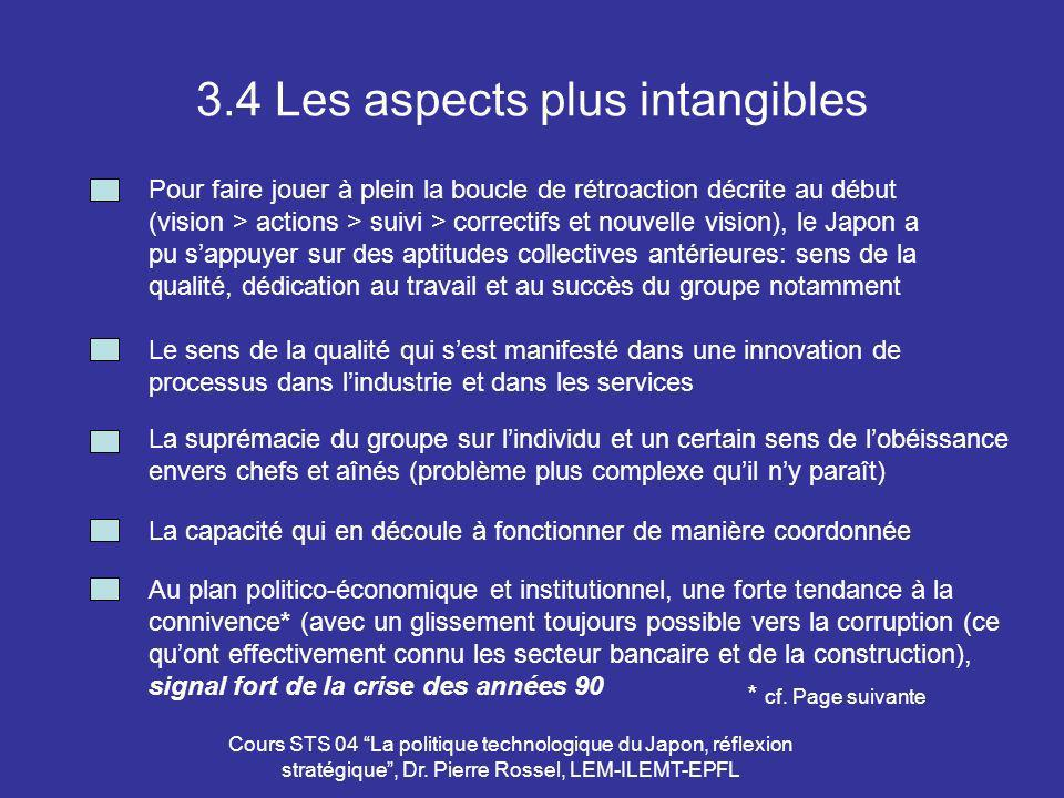 3.4 Les aspects plus intangibles