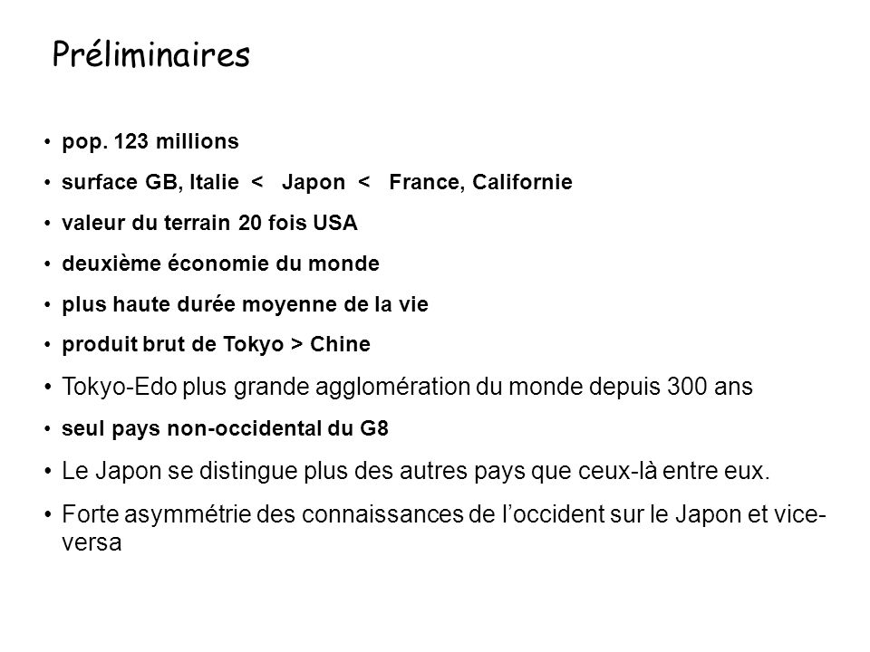 Préliminaires pop. 123 millions. surface GB, Italie < Japon < France, Californie. valeur du terrain 20 fois USA.