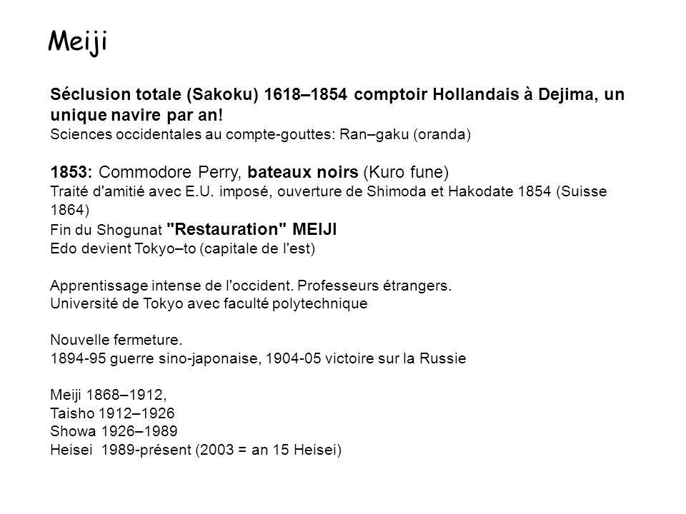 Meiji Séclusion totale (Sakoku) 1618–1854 comptoir Hollandais à Dejima, un unique navire par an!