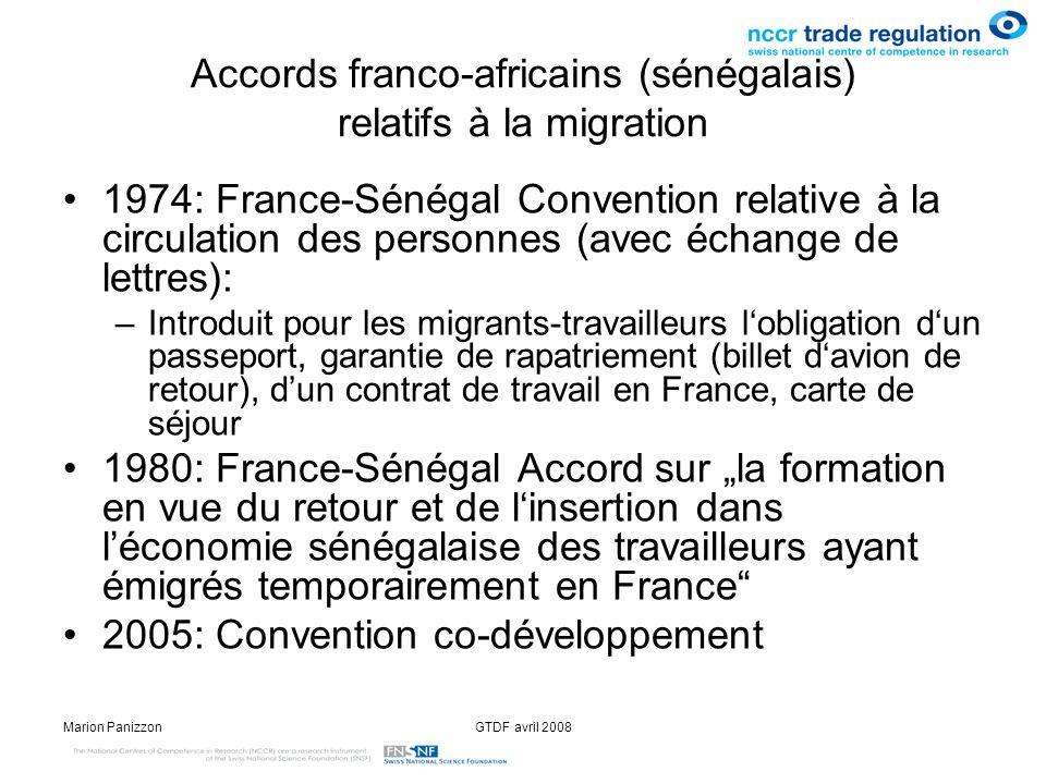 Accords franco-africains (sénégalais) relatifs à la migration