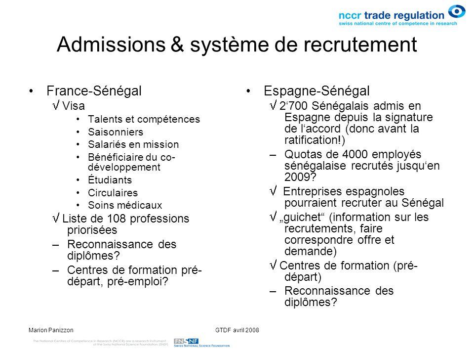 Admissions & système de recrutement