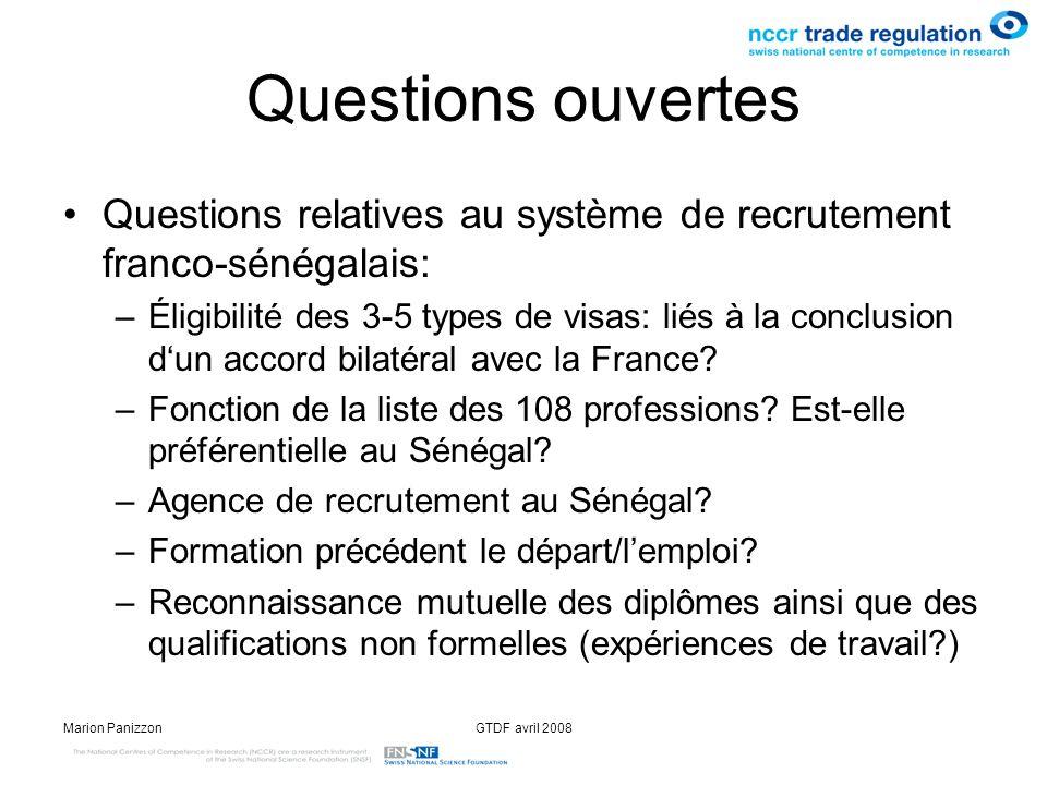 Questions ouvertesQuestions relatives au système de recrutement franco-sénégalais: