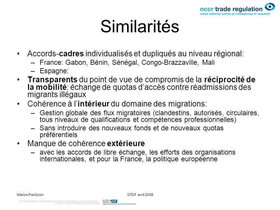 SimilaritésAccords-cadres individualisés et dupliqués au niveau régional: France: Gabon, Bénin, Sénégal, Congo-Brazzaville, Mali.
