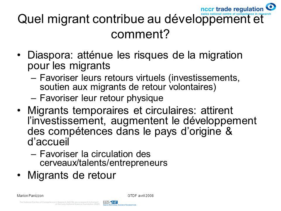 Quel migrant contribue au développement et comment