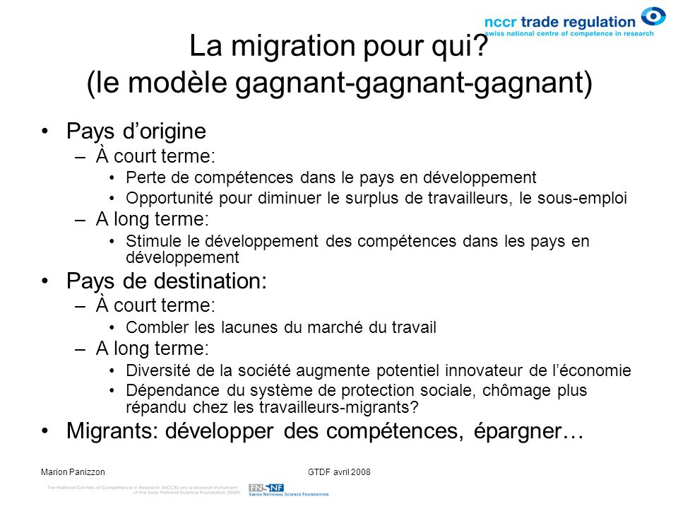 La migration pour qui (le modèle gagnant-gagnant-gagnant)