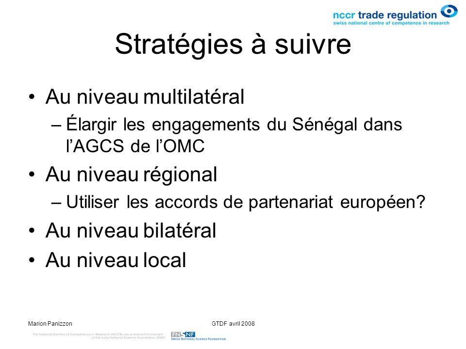 Stratégies à suivre Au niveau multilatéral Au niveau régional