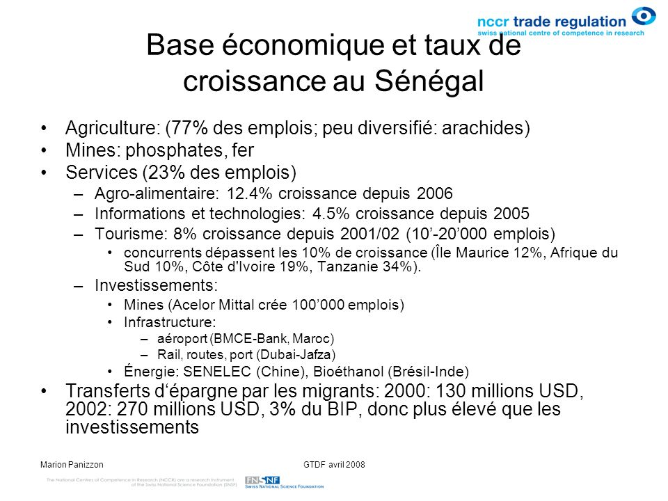 Base économique et taux de croissance au Sénégal