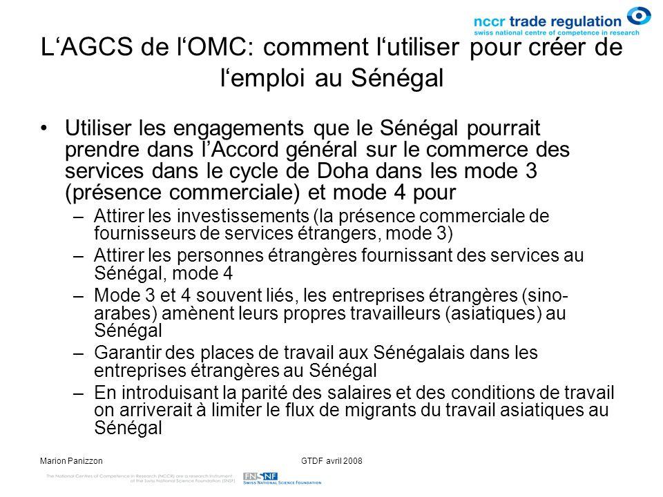 L'AGCS de l'OMC: comment l'utiliser pour créer de l'emploi au Sénégal