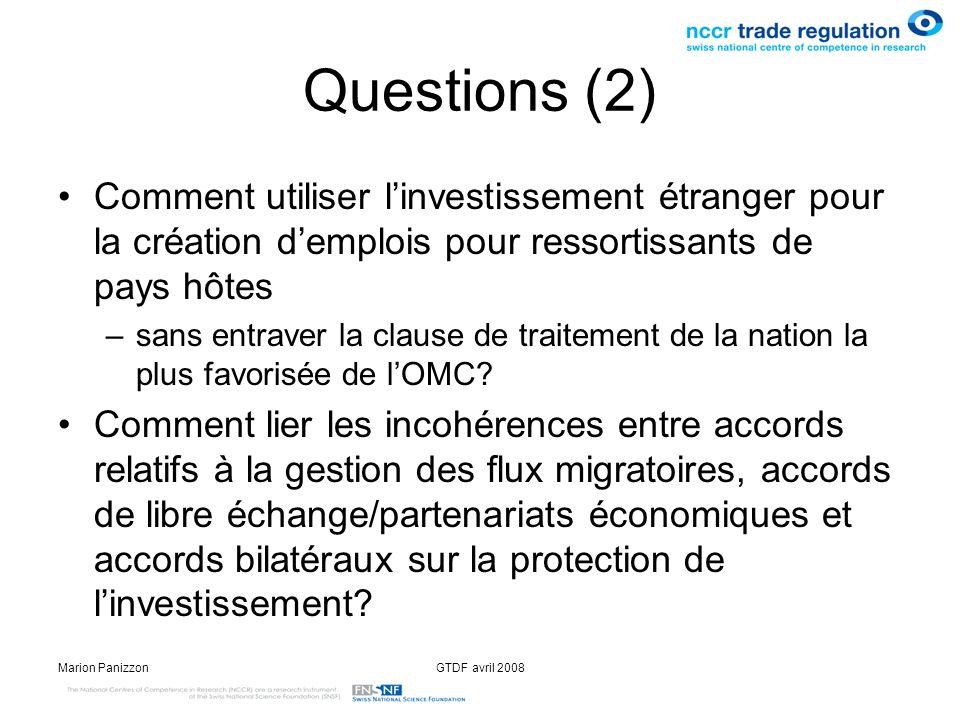 Questions (2) Comment utiliser l'investissement étranger pour la création d'emplois pour ressortissants de pays hôtes.